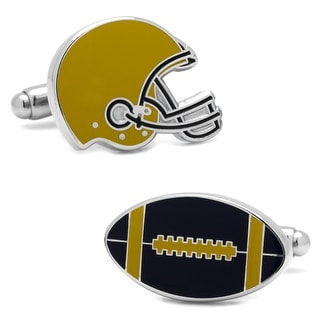 Varsity Football Navy and Gold Cufflinks