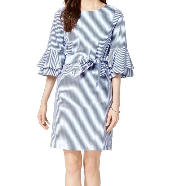 Nine West Blue Women's Size 16 Striped Bell-Sleeve Sheath Dress