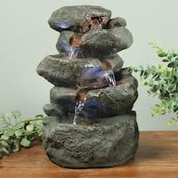 Indoor Tabletop Fountain: Stacked Rocks Design Illuminated Stunning Gift