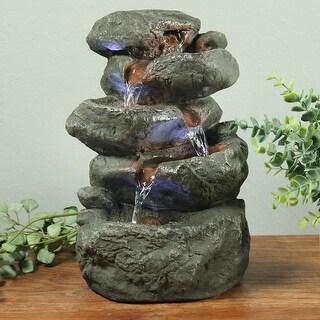 Sunnydaze Indoor Stacked Rocks Design Illuminated Tabletop Fountain - 10.5-Inch