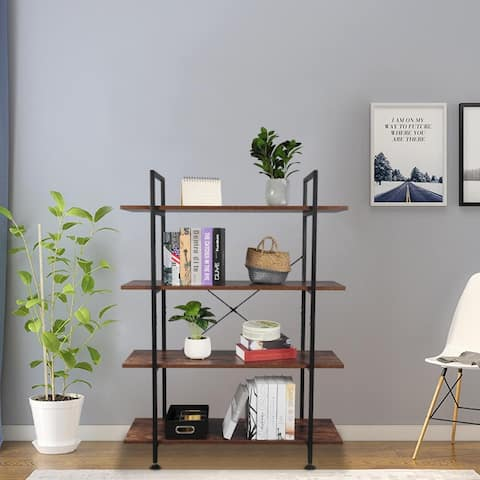 4-Tier Industrial Bookcase,Wood and Metal Bookshelves,Retro Brown