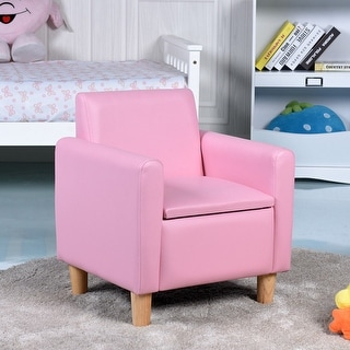 Gymax Single Kids Sofa Armrest Chair Wood Construction w Storage Box Living Room Pink