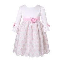 54906b4a2 Shop Lito Little Girls Red Black Velvet Jacquard Long Sleeved ...