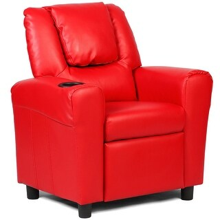 Costway Kids Recliner Armchair Children's Furniture Sofa Seat Couch Chair w/Cup Holder Red