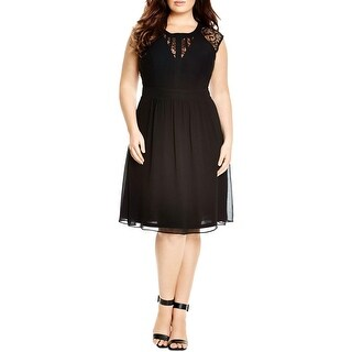 City Chic Womens Plus Cocktail Dress Lace Pleated