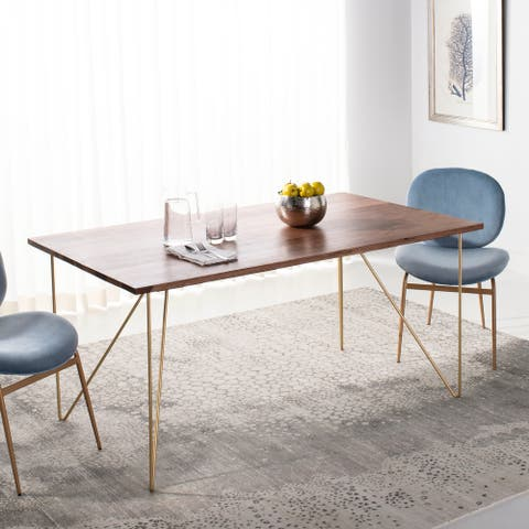 """SAFAVIEH Couture Captain Wood Dining Table - Walnut / Brass - 62.9"""" x 35.4"""" x 29.9"""""""