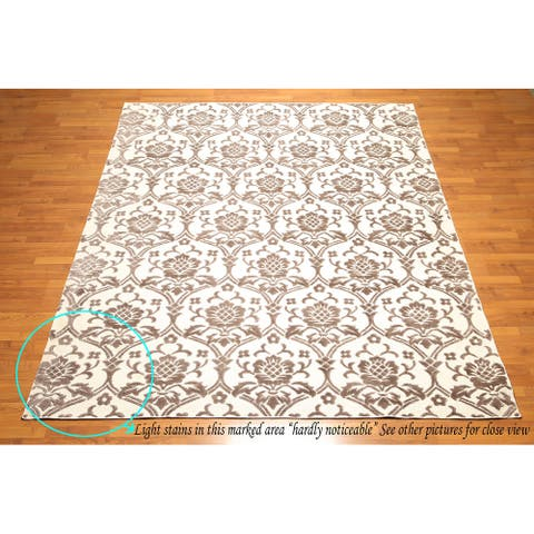 Hand Knotted Ivory,Brown Oriental Rug Wool Traditional Oriental Area Rug (8x10) - 8' x 10'