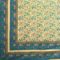 Block Print Tapestry Wall Hanging Cotton Floral Tablecloth Bedspread Green Blue Full 88 x 108 inches