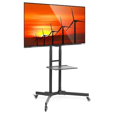 "TV Stand Mobile Cart Mount Wheels for Plasma, LED, Flat Screen - fits 32"" - 65"" - Black"