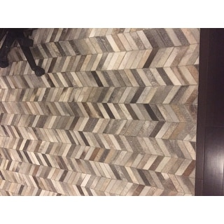 Hand Stitched Grey Chevron Cow Hide Leather Rug 8 X 10
