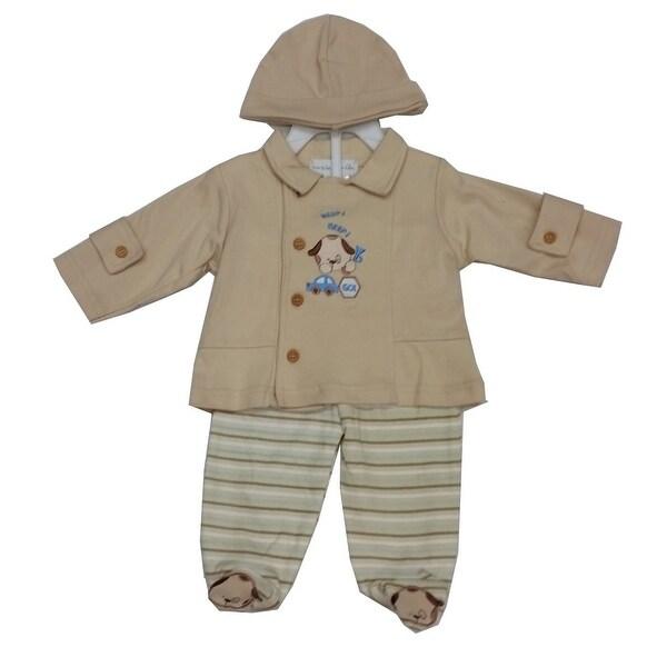 Rumble Tumble Baby Boys Tan Stripe Dog Applique Jacket Hat 3 Pc Pant Set 3-9M