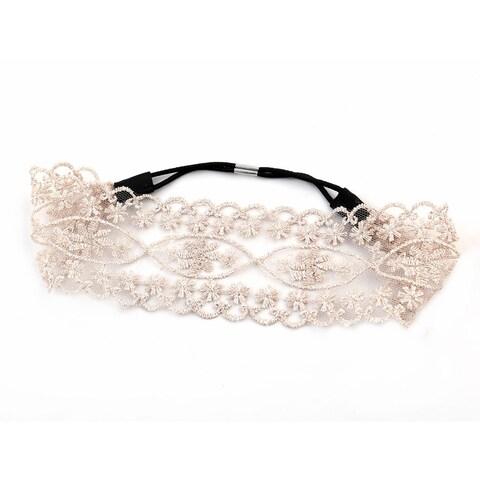 Unique BargainsWomen Outdoor Travel Lace Stretch Head Band Decoration Headband Light Pink