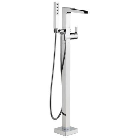 Delta Ara Single Handle Floor Mount Channel Spout Tub Filler Trim with Hand Shower