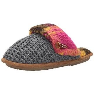 Cuddl Duds Womens Lilac Knit Comfort Foam Slide Slippers - M