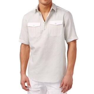 Sean John NEW Beige Mens Size 2XL Textured Front-Pocket Polo Shirt