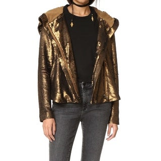 Free People Gold Womens Size Medium M Sequin Zip-Up Hooded Jacket