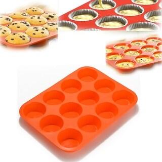 Non-Stick 12 Cup Premium Cupcakes Baking Pan Silicone Muffin Pan BPA Free Dishwasher Microwave Safe Red
