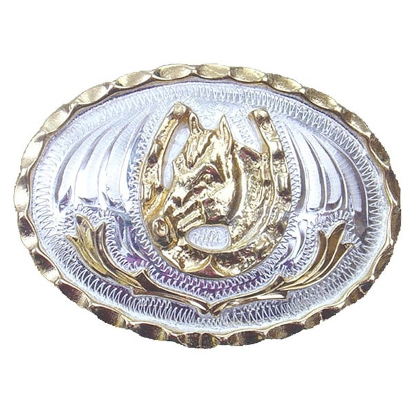 German Silver Tone and Gold Tone Horsehead with Horseshoe Belt Buckle - One size