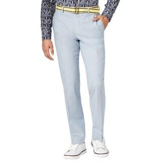 Bar III Slim Fit Cotton Flat Front Dress Pants Light Pastel Blue 30 x 32
