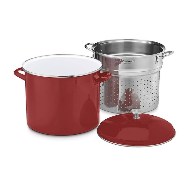 Cuisinart EOS206-33RSCP 3 Piece Stockpot/Steaming Set with Self-Draining Clip, 20 quart, Red