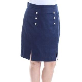 Tahari By ASL NEW Blue Military Women 14P Petite Straight Pencil Skirt