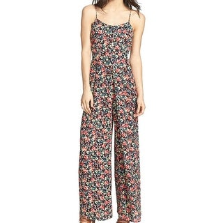 Tildon NEW Blue Red Floral Print Women's Size XS Flared Jumpsuit