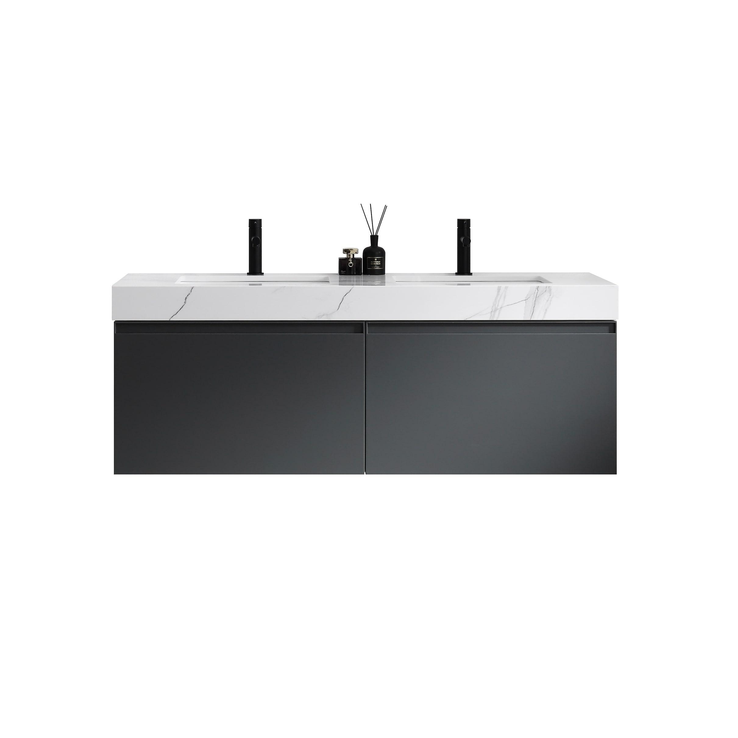 Maos 60 Dark Gray Navy Blue Wall Mount Modern Bathroom Vanity Set Overstock 31276092