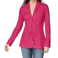 XOXO Pink Women's Size XL Lace-Up Corset Notched-Lapel Blazer