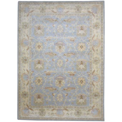 """One of a Kind Hand-Tufted Persian 8' x 10' Oriental Wool Blue Rug - 8'0""""x11'0"""""""