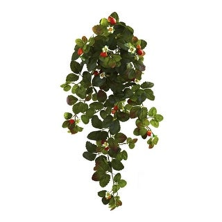 Nearly Natural Home Decor 31 Strawberry Hanging Bush With Berry - Set Of 2