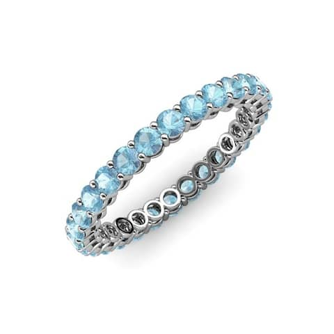 TriJewels Aquamarine Gallery Shared Prong Eternity Ring Stackable Gold
