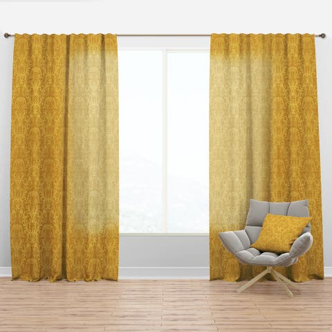 Designart 'Luxury Golden Floral' Glam Curtain Panel