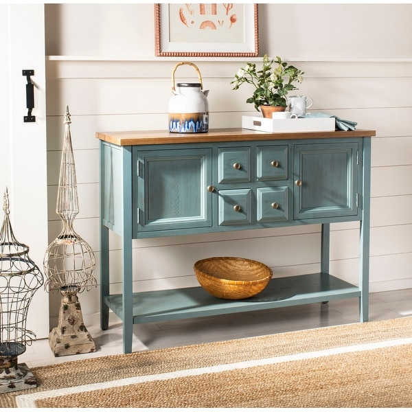"Safavieh Brighton French Blue Finish Storage Sideboard - 45.7"" x 15"" x 34"". Opens flyout."