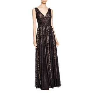 Vera Wang Womens Evening Dress Lace Gathered