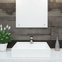 """DecoLav 1464 Classically Redefined 17-1/2"""" Square Vitreous China Vessel Lavatory Sink with Single Faucet Hole - ceramic white"""