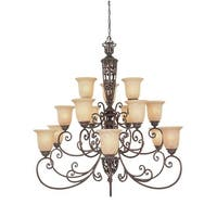 Designers Fountain 975815 Fifteen Light Up Lighting Three Tier Chandelier from the Amherst Collection - Burnt Umber - n/a