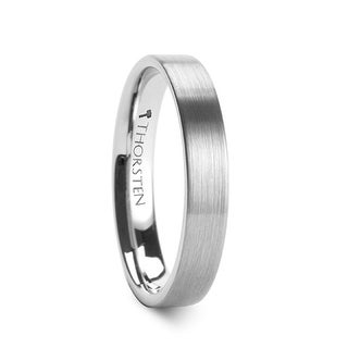 THORSTEN - MESSALINA Flat Brushed Finish Tungsten Carbide Wedding Band - 4mm
