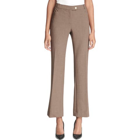 Calvin Klein Womens Petites Dress Pants Cropped Modern Fit - Heather Taupe