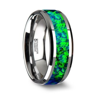 Thorsten Tungsten Beveled Wedding Band with Emerald Green & Sapphire Blue Color Opal Inlay - 8mm PHOTON
