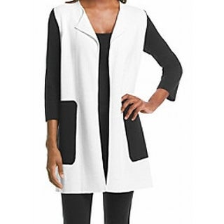 Kasper NEW White Women's Size Large L Colorblock Cardigan Sweater
