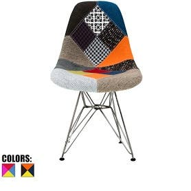 Retired 2xhome Multi-Color Patchwork - Molded Bedroom & Dining Room Side Ray Chair with Eiffel Metal Leg Base