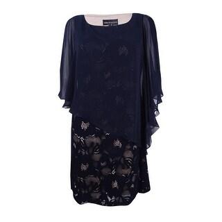 Connected Women's Petite Lace Cold-Shoulder Cape Dress - midnight/mocha