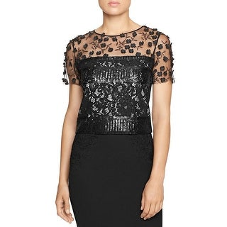 Elie Tahari Womens Crop Top Lace Short Sleeve