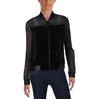 T Tahari Womens Gretchen Bomber Jacket Velvet Chain Fringe