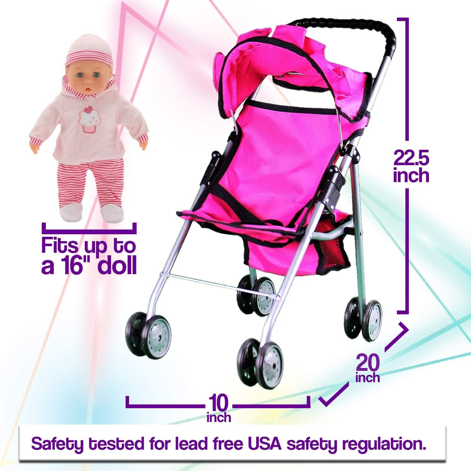 Mommy and Me My First Baby Doll Stroller with Basket Foldab Extra Tall 23 Inch