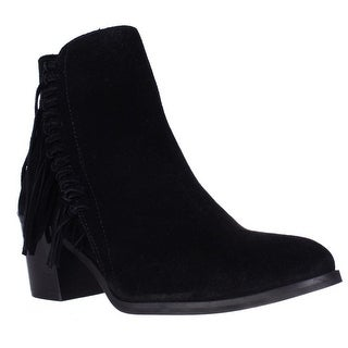 Kenneth Cole REACTION Rotini Side Fringe Ankle Boots - Black
