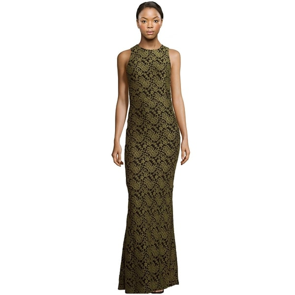 3925f1c5b720b Alice & Olivia Roxie Floral Embroidered Lace Maxi Evening Gown Dress  Olive/Black -