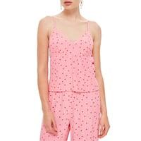 TopShop Deep Pink Womens Size 4 Polka-Dot Button-Detail Cami Top