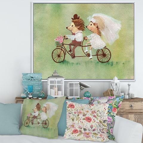 Designart 'Couple of Hedgehogs Riding A Bike' Traditional Framed Canvas Wall Art Print