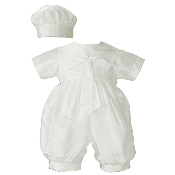 adfe2b12 Shop Baby Boys White Silk Sailor Collar Hat Christening Romper Set - Free  Shipping Today - Overstock - 23087911